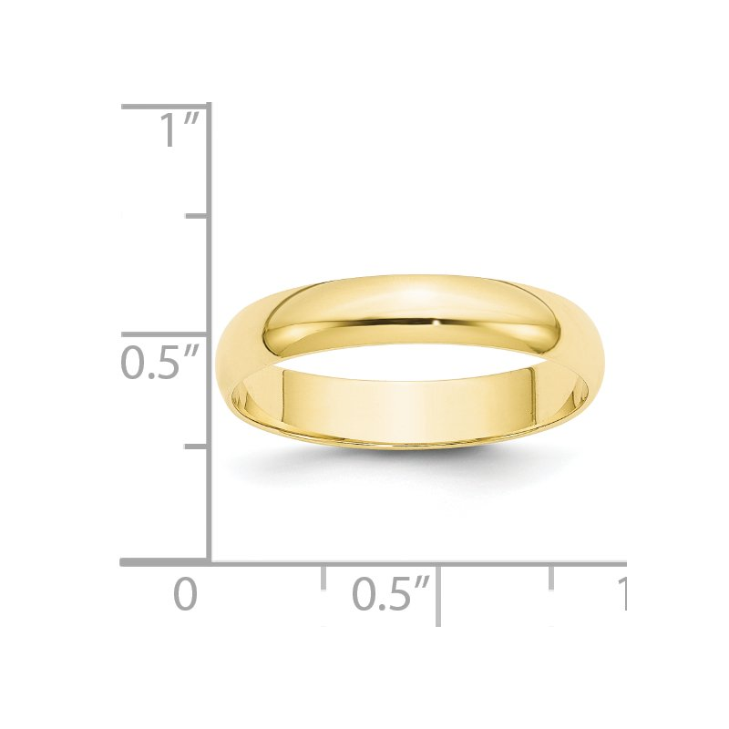 Quality Gold 10KY 4mm LTW Half Round Band Size 10
