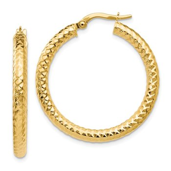 Leslie's 14k ForeverLite Polished and Textured Hoop Earrings