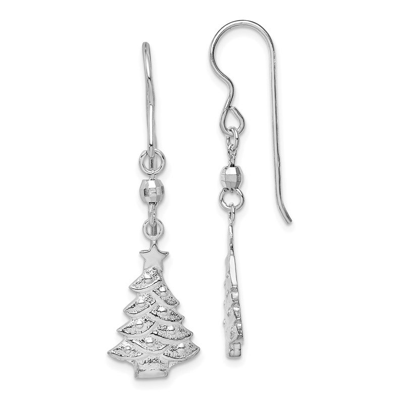 Quality Gold Sterling Silver Rhodium Plated Christmas Tree Dangle Earrings