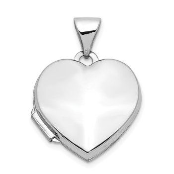 14k White Gold Polished Heart-Shaped Locket