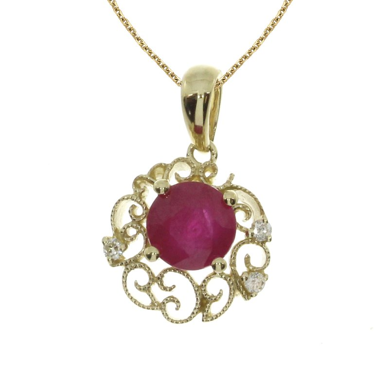 Color Merchants 14k Yellow Gold Ruby Filigree Pendant