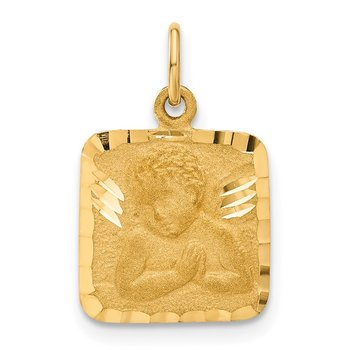 14K Satin and Diamond-Cut Angel Charm