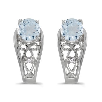 10k White Gold Round Aquamarine And Diamond Earrings