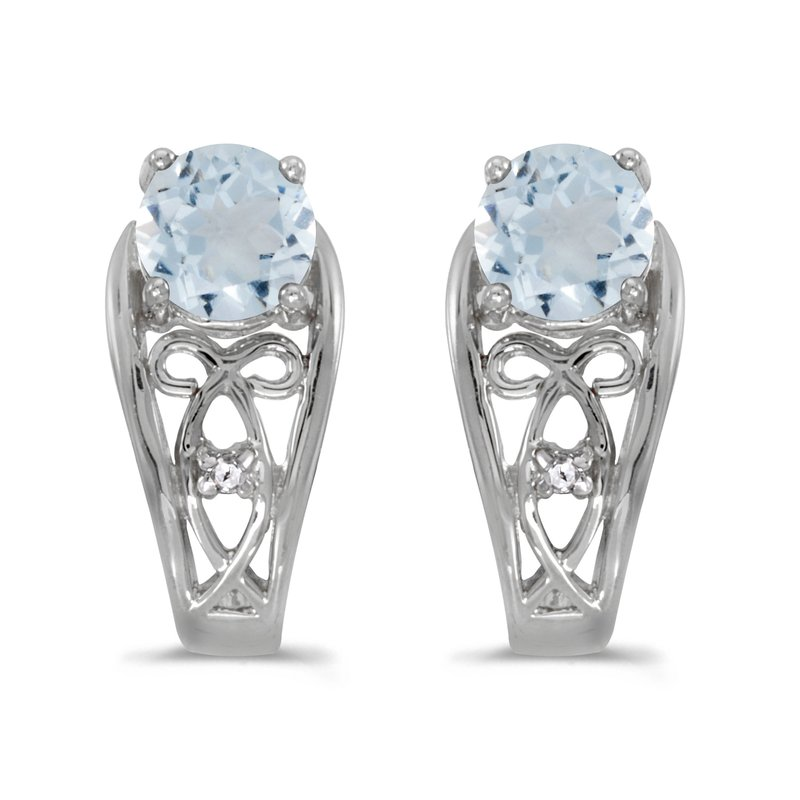 Color Merchants 10k White Gold Round Aquamarine And Diamond Earrings