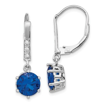 Cheryl M SS Rhod-plated CZ & Lab Cr. Dark Blue Spinel Leverback Earrings