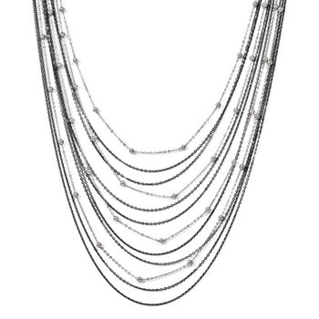 Leslie's Sterling Silver Ruthenium-plated Beaded w/2in ext. Necklace