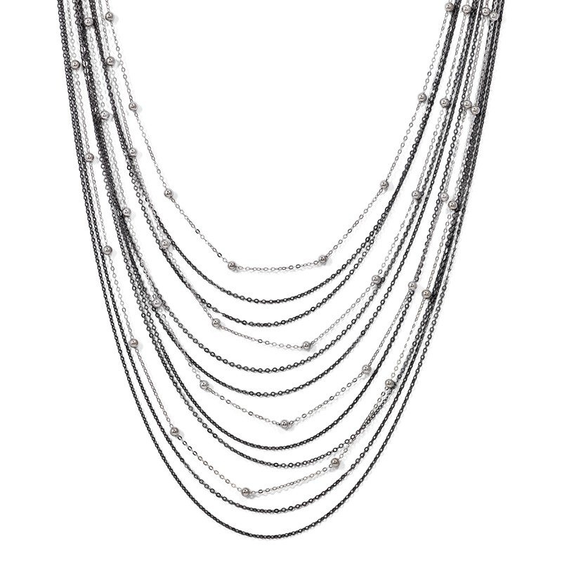 Leslie's Leslie's Sterling Silver Ruthenium-plated Beaded w/2in ext. Necklace