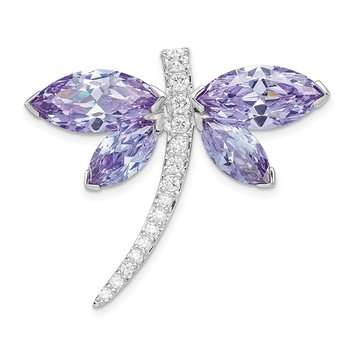 Sterling Silver Rhodium plated Lavender CZ Dragonfly Slide