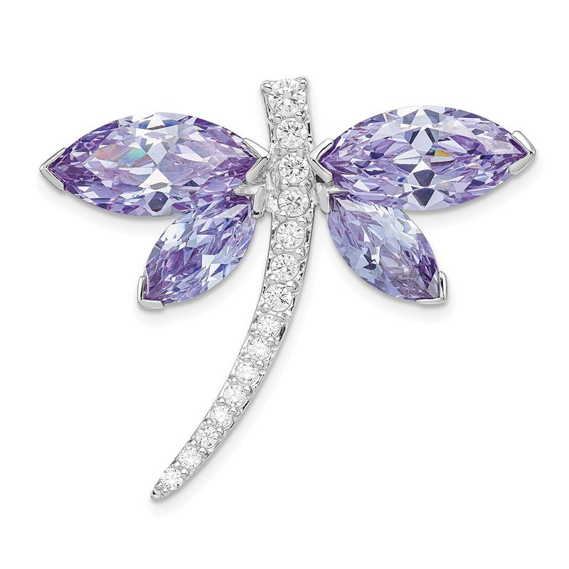 Quality Gold Sterling Silver Rhodium plated Lavender CZ Dragonfly Slide