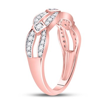 10kt Rose Gold Womens Round Diamond Open Band Ring 1/3 Cttw