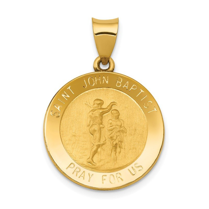 Quality Gold 14k Polished and Satin St John Baptist Medal Hollow Pendant