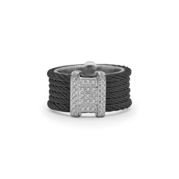 Black Cable Diva Ring with 18kt White Gold & DiamondsÂ