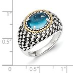 Shey Couture Sterling Silver w/14k Antiqued Blue Topaz Ring
