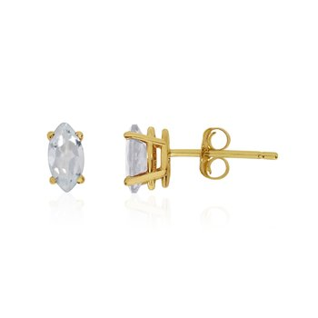 14k Yellow Gold White Topaz Marquise Earrings