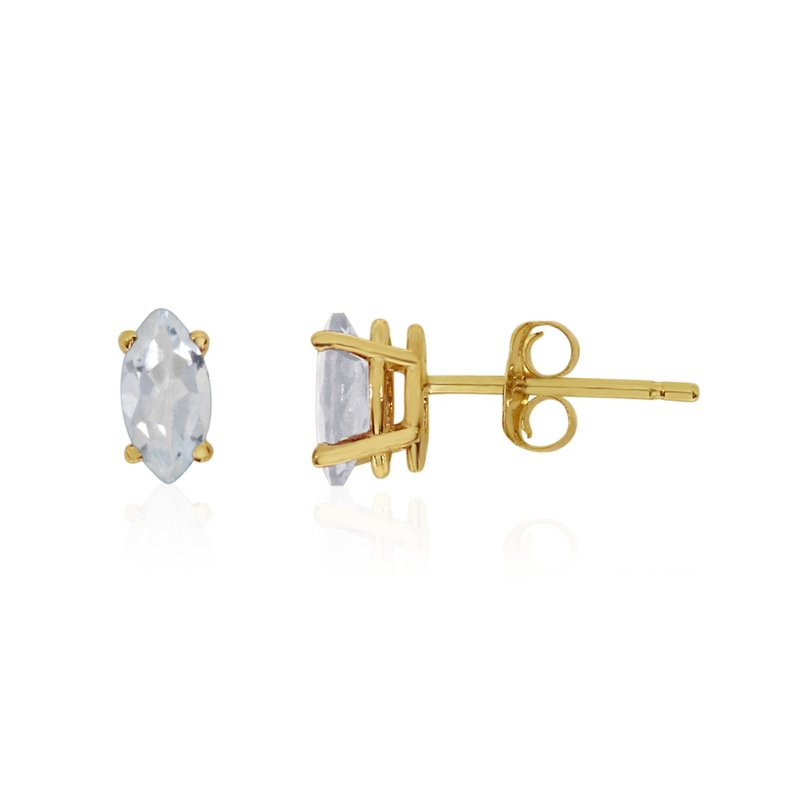 Color Merchants 14k Yellow Gold White Topaz Marquise Earrings