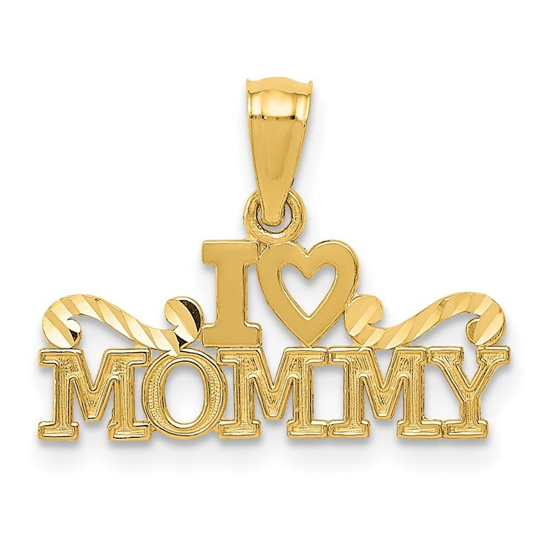 Quality Gold 14k Yellow Gold I Heart Mommy Pendant
