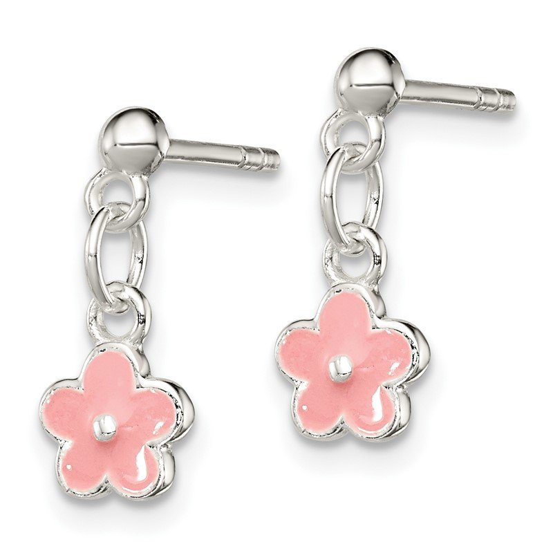 Quality Gold Sterling Silver Pink Enamel Kid's Flower Dangle Earrings