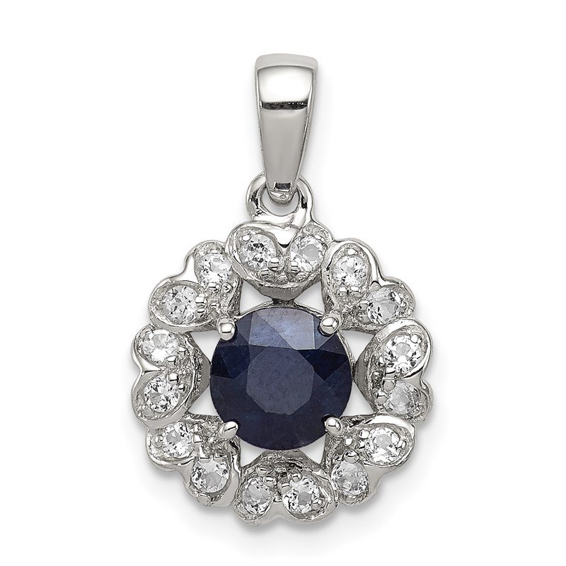 Quality Gold Sterling Silver Rhodium Plated White Topaz & Sapphire Pendant