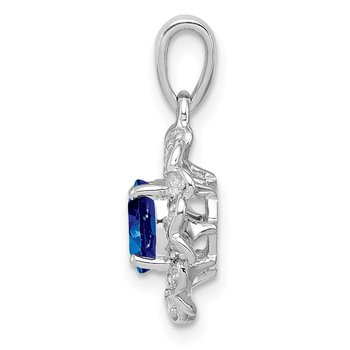 Sterling Silver Rhodium Plated White Topaz & Sapphire Pendant