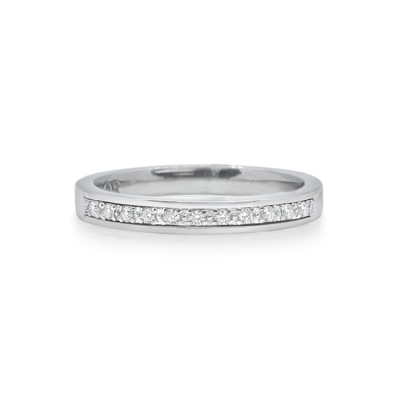 ALOR White Gold Stack Ring with Diamonds