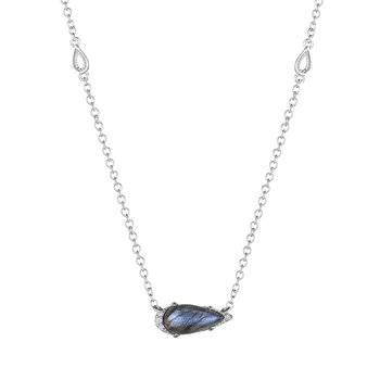 Solitaire Pear-Shaped Gem Necklace with Labradorite