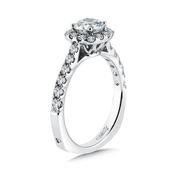 Classic Elegance Collection Halo Engagement Ring with Side Stones in 14K White Gold (3/4ct. tw.)