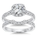 Caro74 Classic Elegance Collection Halo Engagement Ring with Side Stones in 14K White Gold (3/4ct. tw.)