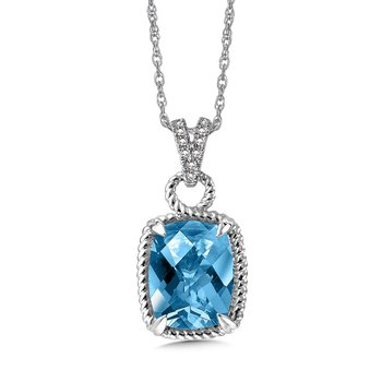 Blue Topaz & Diamond Pendant in 14K White Gold