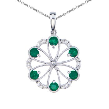 14k White Gold Emerald and Diamond Flower Pendant