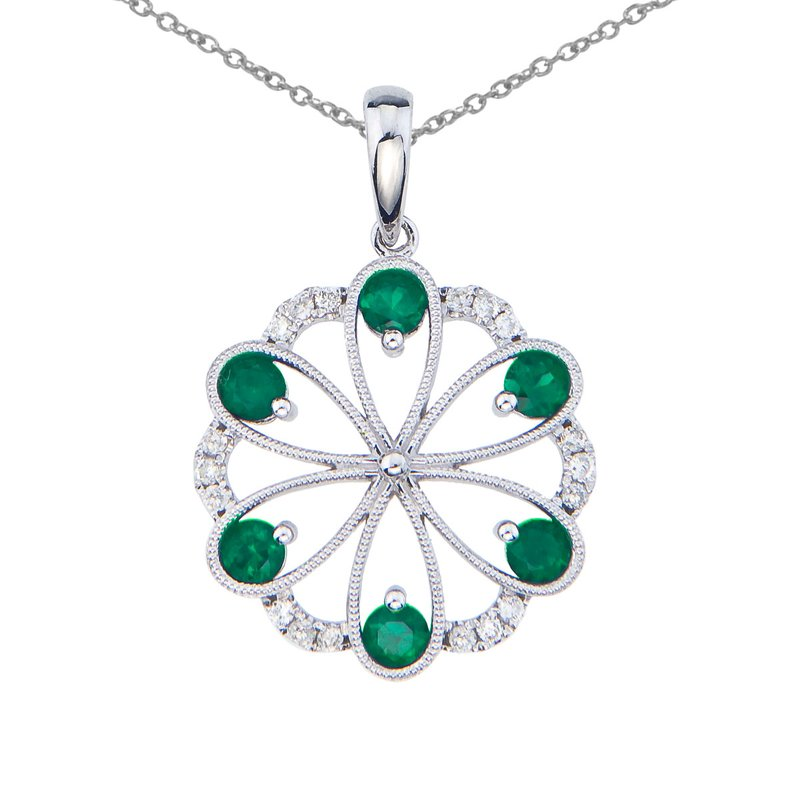 Color Merchants 14k White Gold Emerald and Diamond Flower Pendant