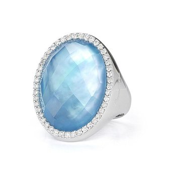 #21759 Of Ring With Diamonds, Topaz And Mother Of Pearl