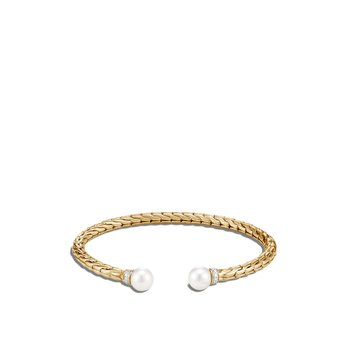 Classic Chain Cuff in 18K Gold with Pearl, Diamonds
