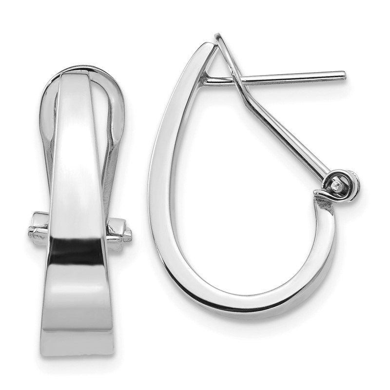 Quality Gold 14k White Gold Polished Hoop Earrings