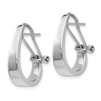 14k White Gold Polished Hoop Earrings
