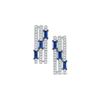 Sapphire & Diamond Triple Row Earrings Set in 14 Kt. Gold