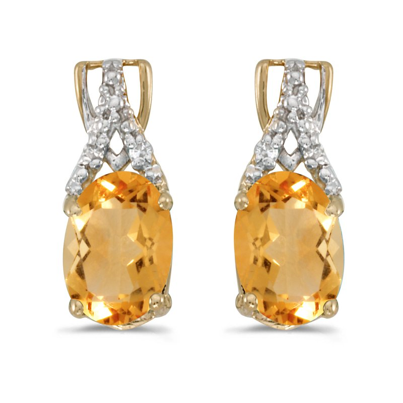 Color Merchants 14k Yellow Gold Oval Citrine And Diamond Earrings