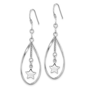 Sterling Silver Rhodium-plated Star Inside Oval Dangle Earring