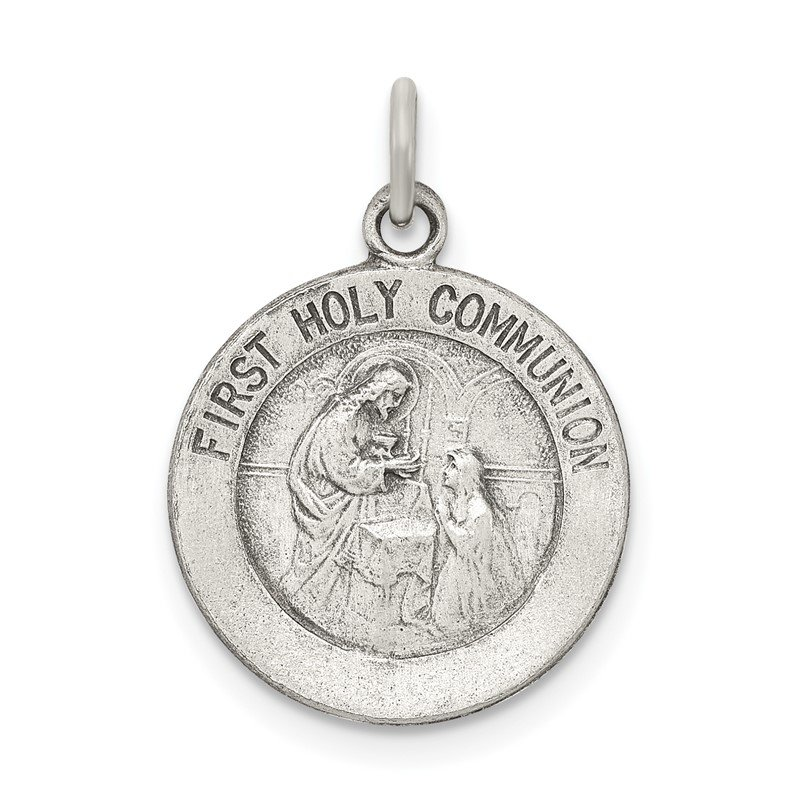 Quality Gold Sterling Silver Antiqued First Holy Communion Medal