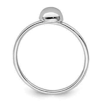Sterling Silver Rhodium-plated Polished Bead Ring