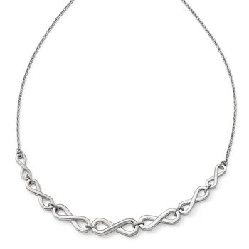 Leslie's Sterling Silver Polished Infinity with 2in ext. Necklace