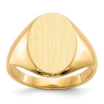 14k 9.5x12.5mm Closed Back Signet Ring