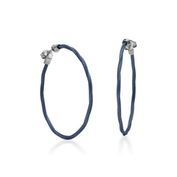 Blueberry Cable 1.5″ Hoop Earrings with 18kt White Gold