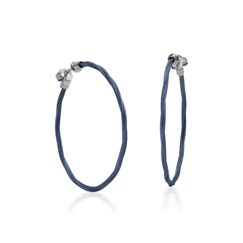 ALOR Blueberry Cable 1.5″ Hoop Earrings with 18kt White Gold
