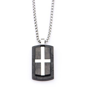 Stainless Steel Cross Inlayed In Solid Carbon Graphite Dog Tag Pendant With Chain