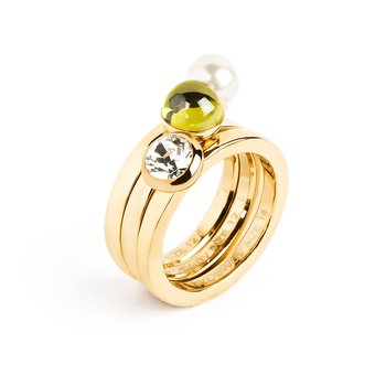 316L stainless steel, gold pvd, pearl, olive green zircon and Swarovski® Elements crystal.
