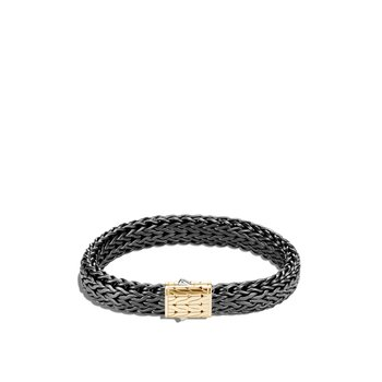 Classic Chain 11MM Bracelet in Blackened Silver and 18K Gold
