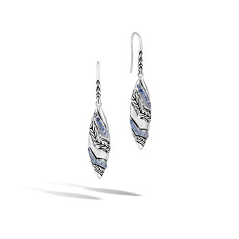 Lahar Marquise Drop Earring in Silver with Gemstone
