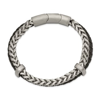 Stainless Steel Brushed Leather and Chain 8in w/.5in ext. Bracelet