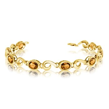 14K Yellow Gold Oval Citrine Bracelet
