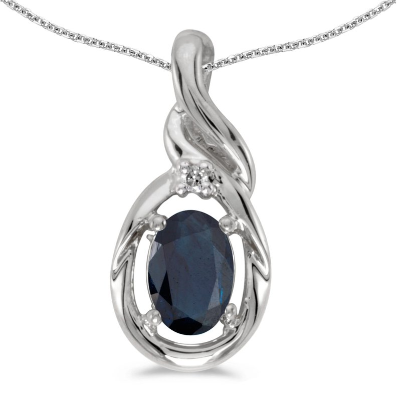 Color Merchants 10k White Gold Oval Sapphire And Diamond Pendant